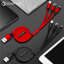 3 in 1 Retractable USB Cable For iPhone Xs Max X 3A Fast Charging Charger Micro Type C Samsung Xiaomi Huawei Cord