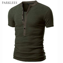 Men T-shirt Homme Mens Fashion Army Green Short Sleeve Henley Shirt Brand Slim Fit V Neck Tee Shirt T-shirt Men