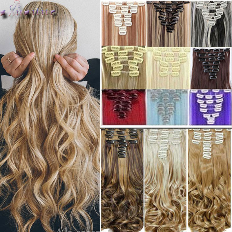 S-noilite 8 teile/satz Clip Auf Haar Verlängerung 24 zoll Natürliche & Dick Haarteile Lockige Synthetische Clip In Haar extensions
