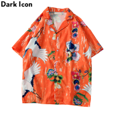 Dark Icon Crane Printed Beach Vacation Men's Shirts Summer Hawaii Style Short Sleeved Man Streetwear 3 Color