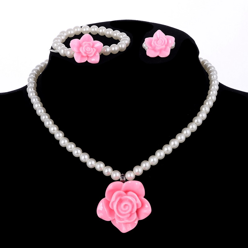 Children Cute Simulated Pearl Chain Pendant Necklace/Ring/Bracelet Rose Flower Charm Bracelet Kids Lovely Jewelry Sets