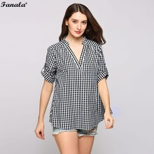 FANALA Women Blouse 2017 Black and White Plaid Summer  V-neck Short Sleeve Casual Pullover Tops Blusas Sweatshirts #30
