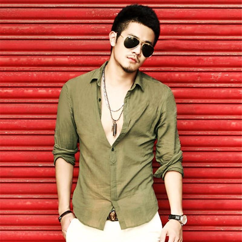 Camicia casual in lino di cotone degli uomini nuovi Cool - Abbigliamento da uomo