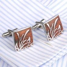 High Quality Men's Cufflink  Orchid Rosewood Cufflinks Silver Plating Men's Shirt cuff links mens 359