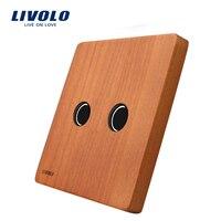 Livolo Luxury Cherry Wood Panel 80mm 80mm EU Standard Single Wood Panel For 2 Gang Wall