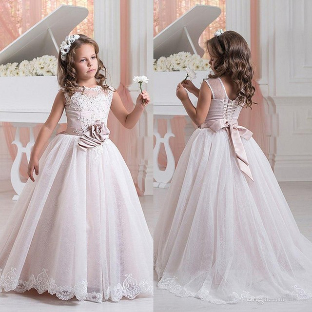 Lovely Appliques Sleeveless Ball Gown   Flower     Girl     Dresses   2019 O-Neck Lace Princess   Flower     Girl     Dress   vestidos de comunion 2019
