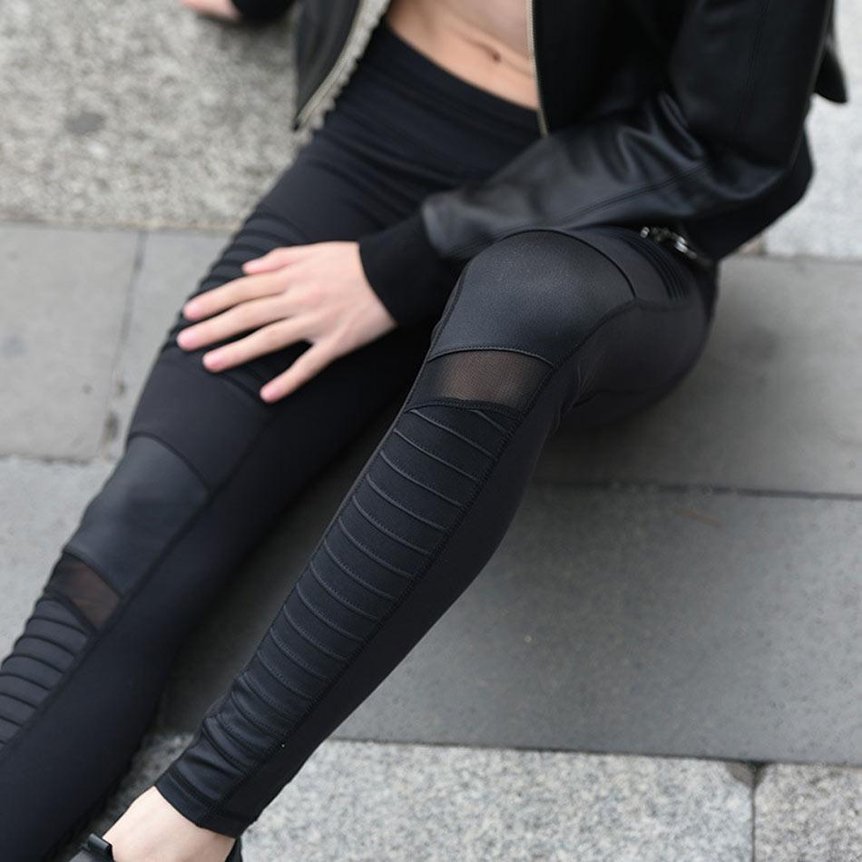 0864a7d070113f ZekaMeka Flora M Women Elastic waistband Yoga pants with Mesh Panels High  Waisted Moto Leggings in White Sport Yoga Leggings-in Yoga Pants from  Sports ...