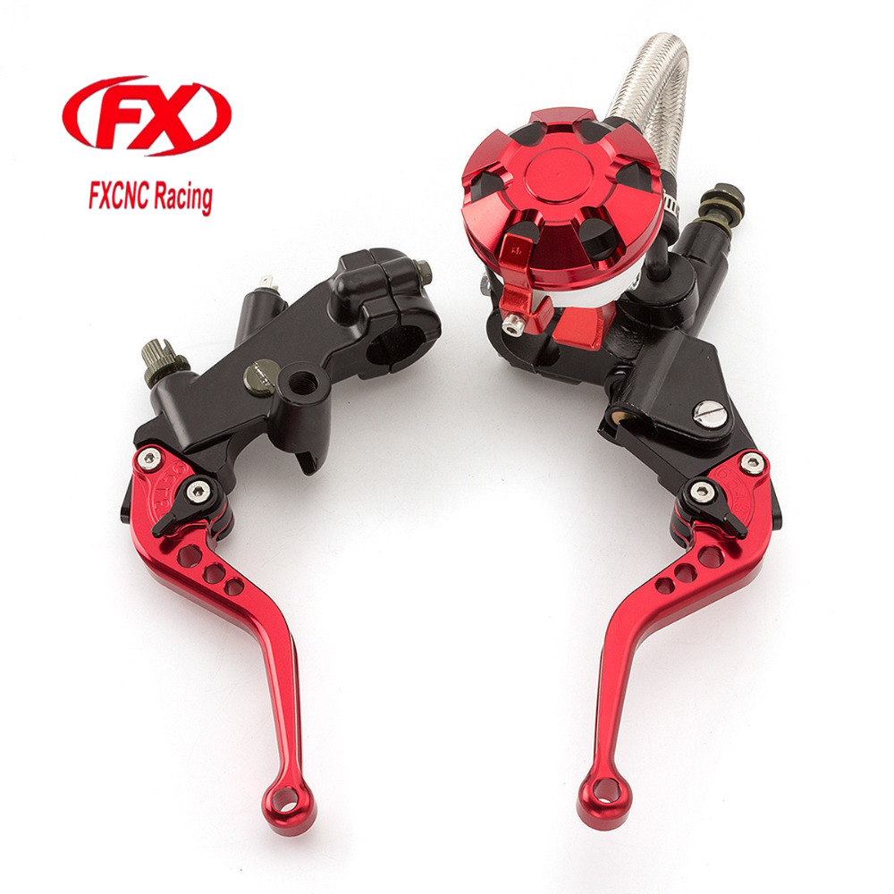 FX CNC 7/8 Motorcycle Brake Clutch Lever Master Cylinder Reservoir Hydraulic For KTM 200 Duke RC200 2014 - 2015 RC125 2014-2015 7 8 22mm brake master cylinder reservoir levers clutch set for ktm 200 duke rc200 125 300cc motorcycle black