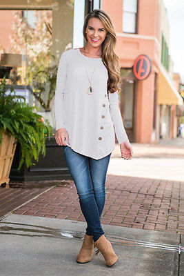Long Sleeve Blouse Shirts With Button for Women