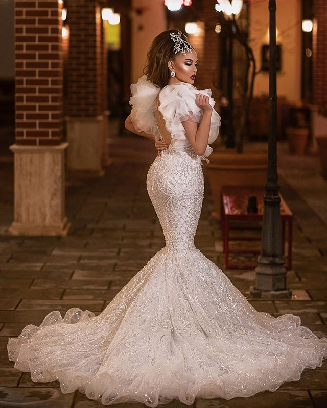 Radient Dzw367 Vintage Full Lace 2019 Wedding Dresses Mermaid Long Sleeves Bridal Gowns Bateau Neck Sweep Train Wedding Reception Dress Wedding Dresses