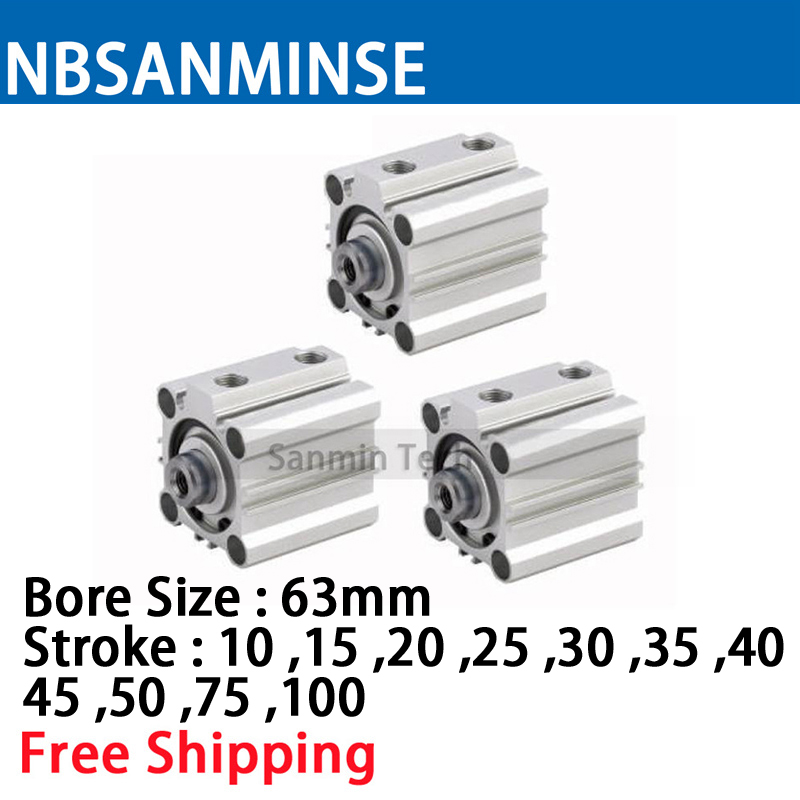 NBSANMINSE CQ2B63 ISO Compact Cylinder SMC Type Double Acting Pneumatic Cylinder 10Bar Pressure NBSANMINSE CQ2B63 ISO Compact Cylinder SMC Type Double Acting Pneumatic Cylinder 10Bar Pressure