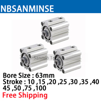 NBSANMINSE CQ2B63 ISO Compact Cylinder SMC Type Double Acting Pneumatic Cylinder 10Bar Pressure