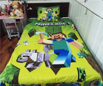 Home Textile Cute minecraft Bedding Set Cartoon Cotton Bed Linen for Children Boys Girl Gift Duvet Cover Flat Sheet Pillowcase