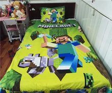 Home Textile Cute minecraft Bedding Set Cartoon Cotton Bed Linen for Children Boys Girl Gift Duvet Cover Flat Sheet Pillowcase(China)