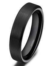 4mm Promotion Men's Classic Black Ceramic Ring Cool Wedding Band Jewelry Gift Size 4-10 Free Shipping