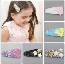 2-5PCS New Glittering kids PU Stars BB hair Clips Girls Hairpins barrette Kids Headwear Children  Fashion Accessories J79