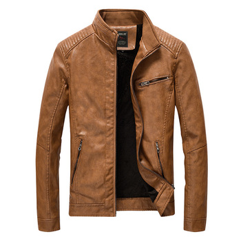 2018 Men's Leather Jackets And Coats Spring Autumn Brand Men Slim Stand Collar Jaqueta Couro Bomber Jacket Faux Leather Fur Coat