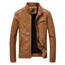 2018 для мужчин кожаные куртки и пальто для будущих мам демисезонный бренд тонкий стенд воротник Jaqueta Couro курточка бомбер из искусственной кож