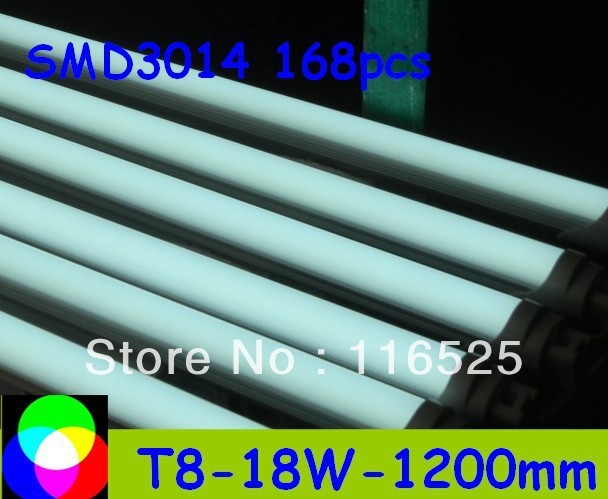 high bright 18W T8 LED Tube 1200mm Light 18W SMD3014 168pcs Warm White/Cool White 1800lm PC Cover Free shipping 30pcs