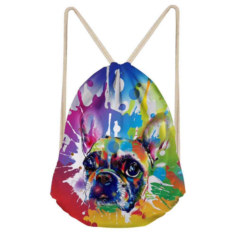 Noisydesigns  Dog Colour Funny Painted Drawstring Bag Women Backpack Teenager Girls Cinch Pocket Sport Travel Shoulder Bags