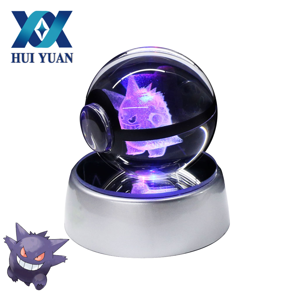 Gengar 5CM Crystal Pokemon Ball Desktop Decoration Light Glass Ball LED Colorful Base Lamp for Decorative Gift by HUI YUAN Brand superman 3d crystal ball lamp desktop decoration glass ball night light led colorful rotate base funny gift hui yuan brand