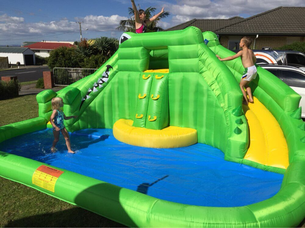Gaint Inflatable Water Game Double Water Slide And Swimming Pool Shark Bouncy Castle Inflatable Pool Bounce House fouriers hb mb008 n2 320 carbon fiber ud mountain bike straight handlebar 31 8x750mm 170g 9 degrees