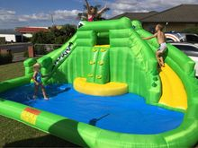 Gaint Inflatable Water Game Double Water Slide And Swimming Pool Shark Bouncy Castle Inflatable Pool Bounce House