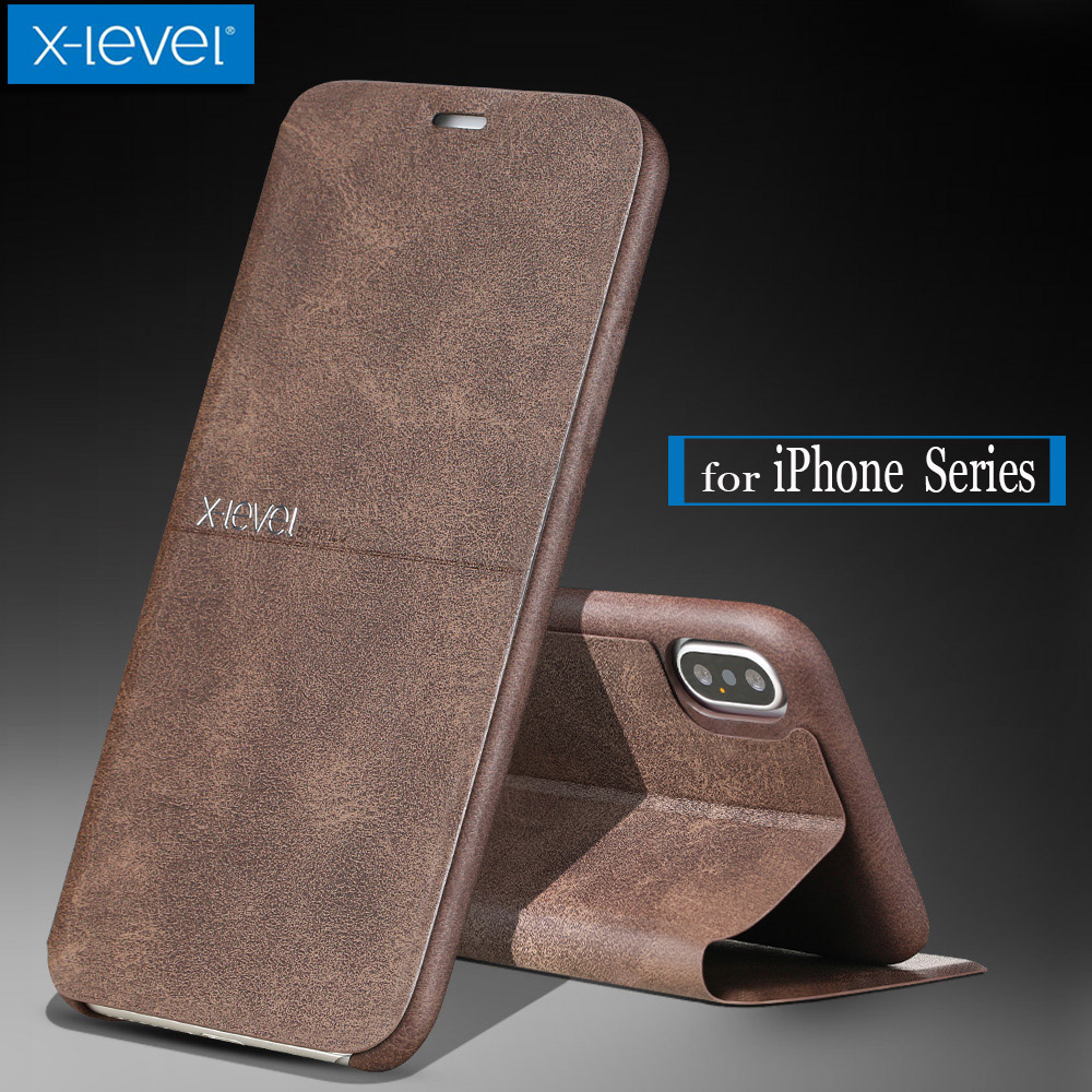for iPhone X 8 7 6S 6 SE 5S Case X-Level Extreme Luxury Business PU Flip Leather Kickstand Back Cover for iphone X 8 7 6S 6 Plus