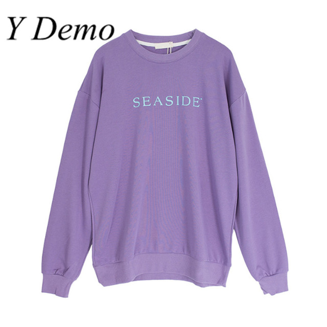 7a68a8666ff Y Demo Letter Sweatshirt for Autumn Violet Girls Long Sleeve Round Neck  Pullovers Women s Loose Sweatshirt