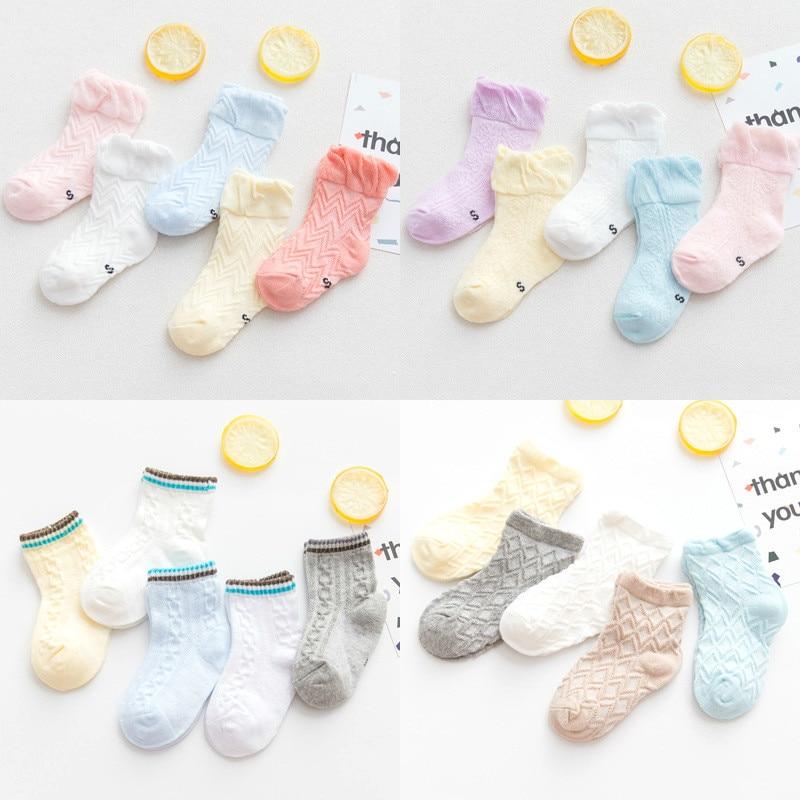 5Pairs//lot Infant Baby Socks Summer Mesh Thin Baby Socks for Girls Cotton Newbor