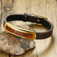 Rare Exotic Snakewood Tag Leather Bracelet in Brown for Men Letterwood Male Gents Leopardwood Wood Jewelry Adjustable 7 8.8