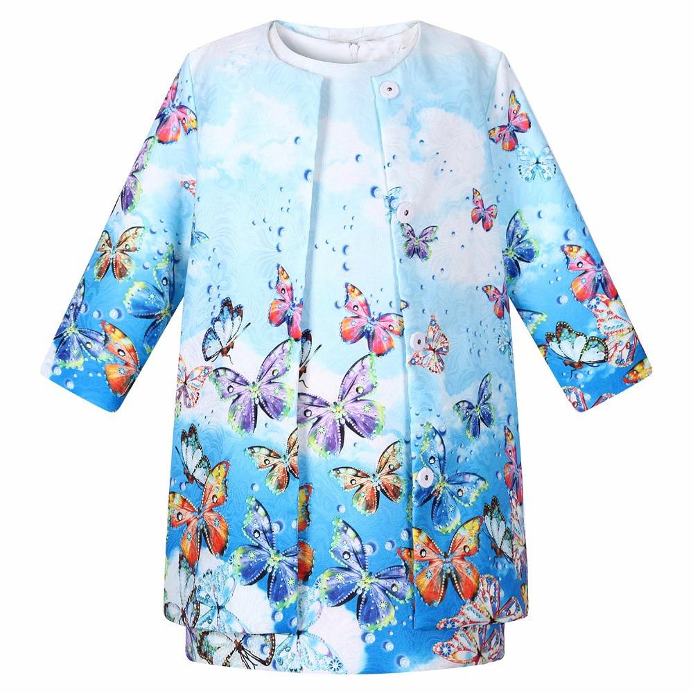 Для малышей Одежда для девочек 2017 Фирменная детская одежда Комплекты для девочек (куртка + платье) режим печати одежда для детей комплекты д...
