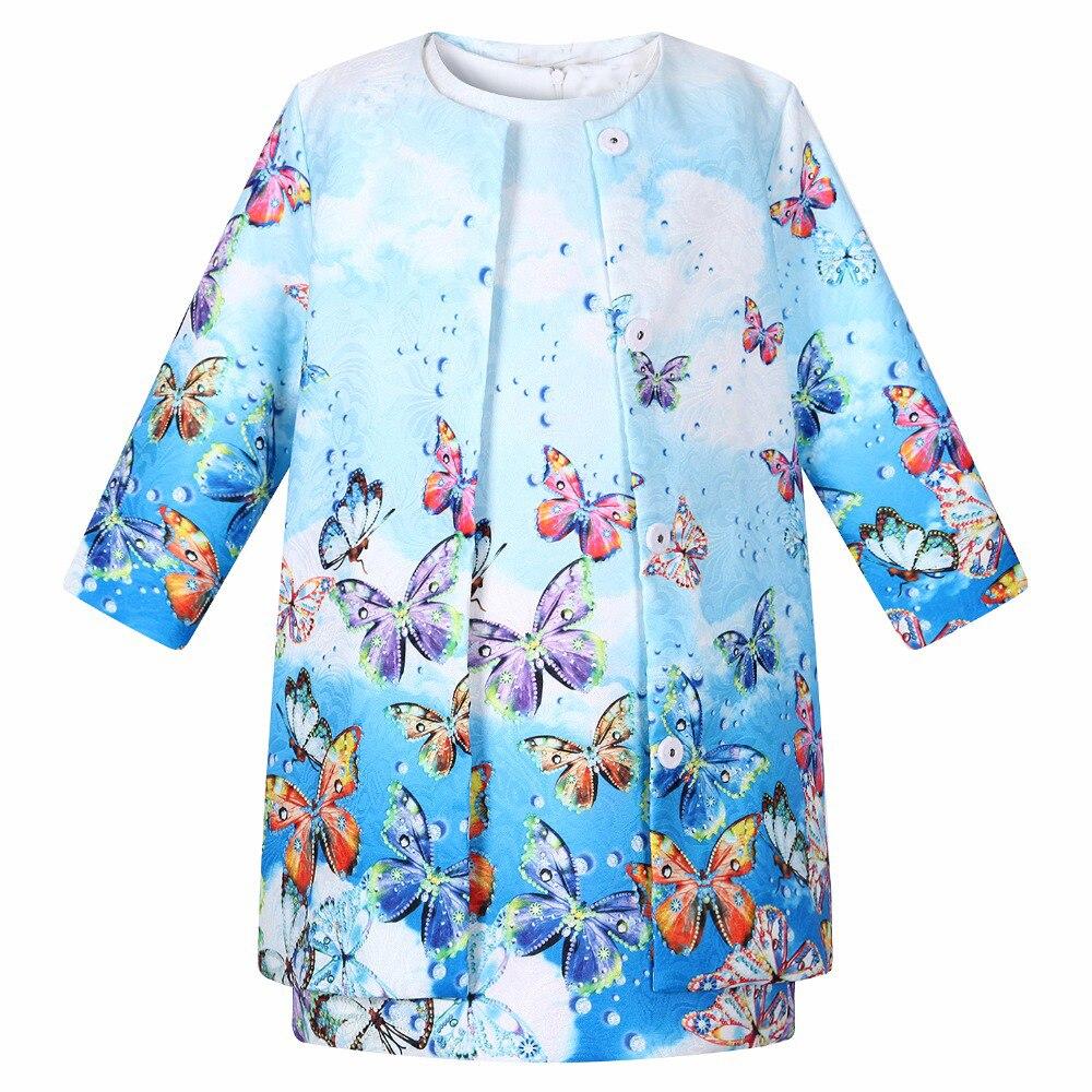 Одежда для маленьких девочек, коллекция 2017 года, брендовая детская одежда, комплекты для девочек (куртка + платье) с принтом, одежда для детей...