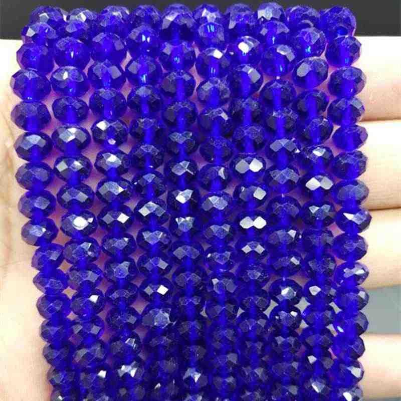 DIY 4/6/8 Mm New Hot Fashion Manik-manik Tersebar Crystal Kaca Manik-manik Berbagai Macam Warna-warni Pengatur Jarak Manik-manik untuk Gelang Perhiasan Membuat