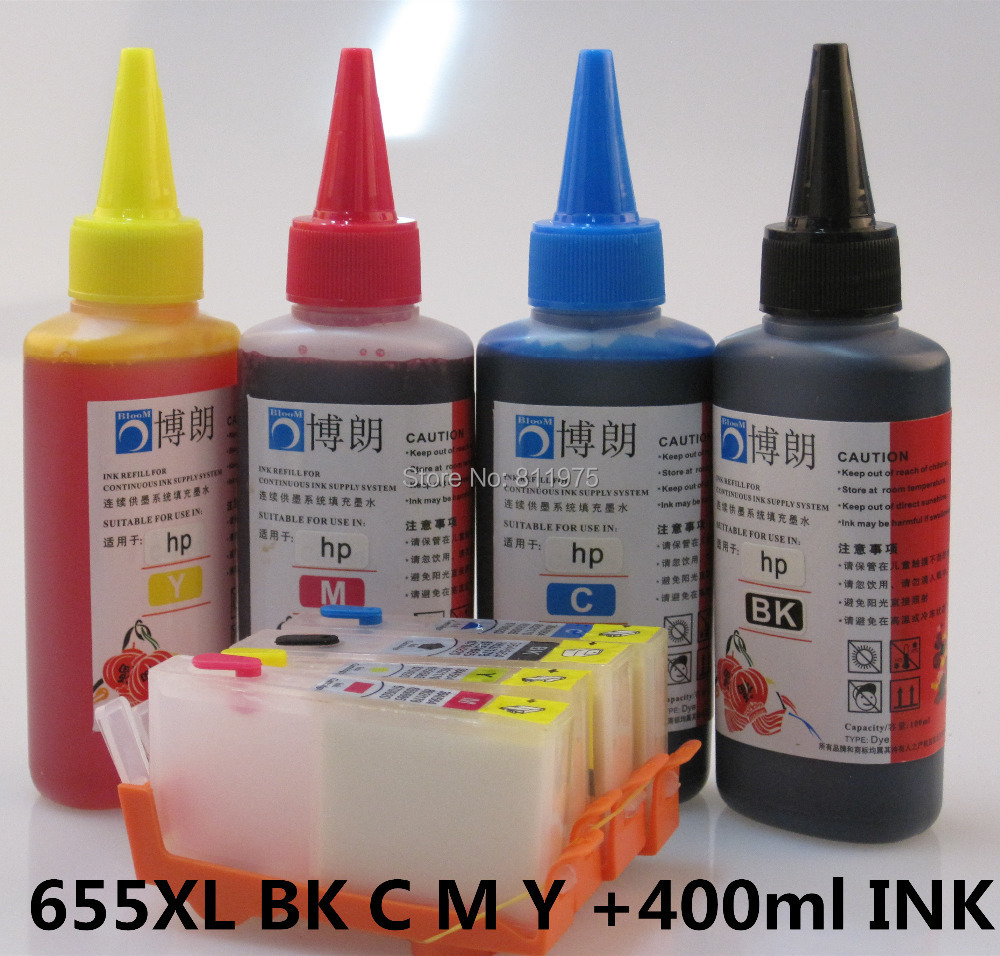 ФОТО 655XL 655 hp655 Refillable INK cartridge for HP Deskjet 3525 4615 4625 5525 6525 + for hp Premium  4 Color Dye Ink 400ML
