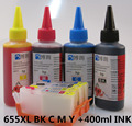 655XL 655 hp655 Refillable INK cartridge for HP Deskjet 3525 4615 4625 5525 6525 + for hp Premium  4 Color Dye Ink 400ML