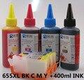 655xl 655 hp655 cartucho de tinta recarregáveis para hp deskjet 3525 4615 4625 5525 6525 + para hp premium 4 color dye ink 400 ML