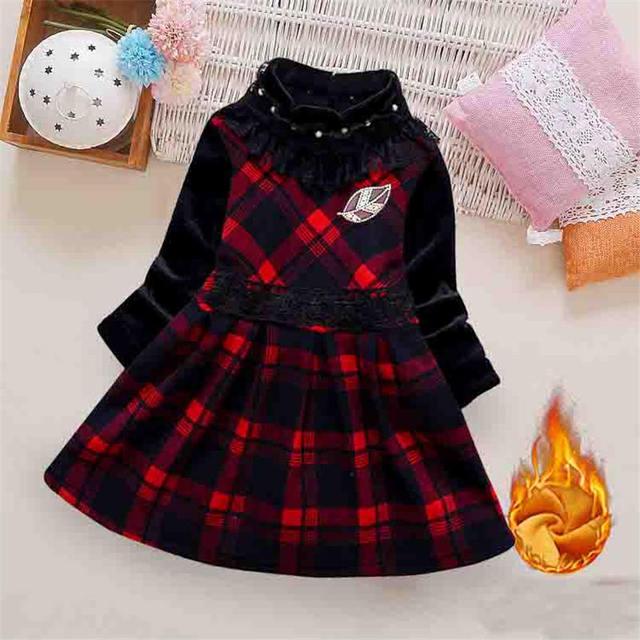 BibiCola/зимнее платье для девочек, детское клетчатое платье с длинными рукавами, детское плотное теплое бархатное рождественское платье, костюм принцессы для маленьких девочек