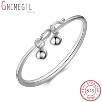GNIMEGIL New Arrival Authentic 925 Sterling Silver Original Open Bangle Beads Balls Hanging Bracelets for Women Girls Gifts