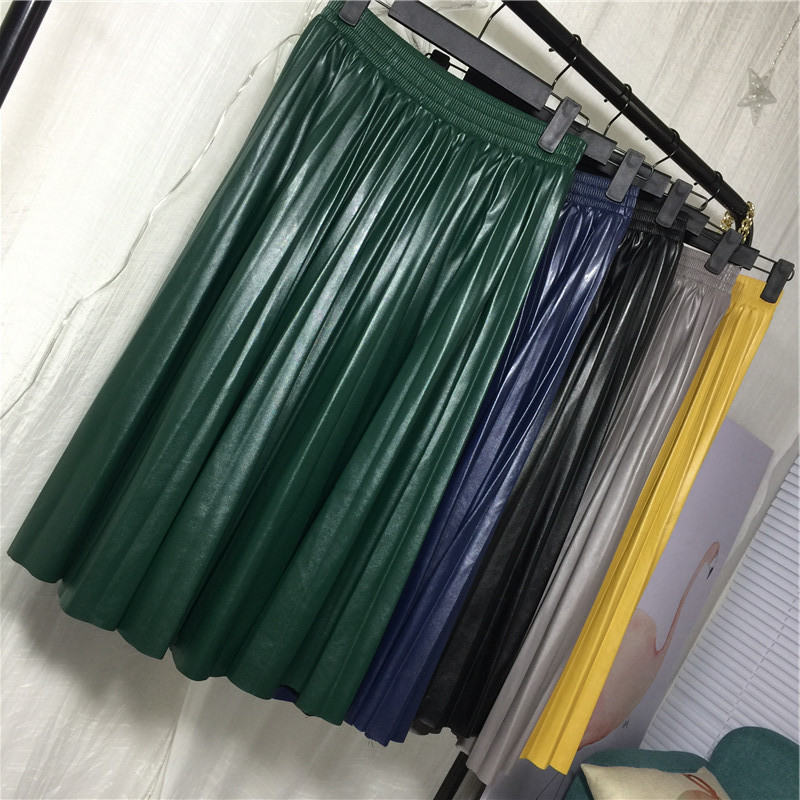 74d34df9cb  Hot Sale  2019 New Pu Accordion Pleated Skirt Spring   Spring New Style  Leather Skirt High Waist Faldas Largas Elegantes Free Shipping -  www.prodesign.me ...