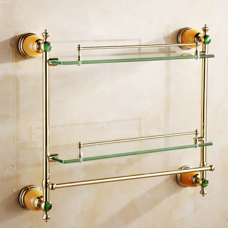 цена на Bathroom Shelves Continental Luxury Wall Mounted Golden And Jade Bathroom Shelf Storage Holder Dual Tiers With Towel Bar 3816K