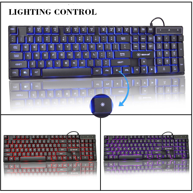 Image 5 - USB Wired Gaming Keyboard 104 Keys Russian English Layout Rainbow Glow mechanical Keyboard for Computer Notebook Desktop Laptop-in Keyboards from Computer & Office