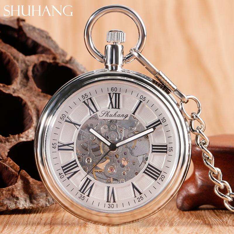 SHUHANG Vintage Retro Steel Silver Case White Dial Analog Mechanical Relogio Pendant FOB Chain Men Women Pocket Watch Hour Clock