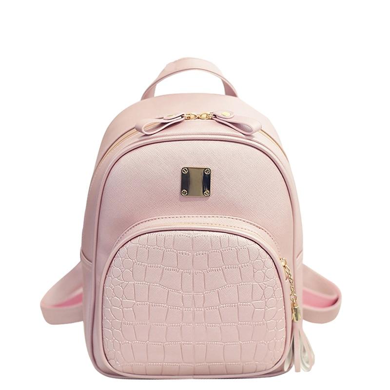 Fashion PU Geniune Leather Shoulder Bag Women Backpacks Crocodile Pattern Small Backpack Embossed School Bags For