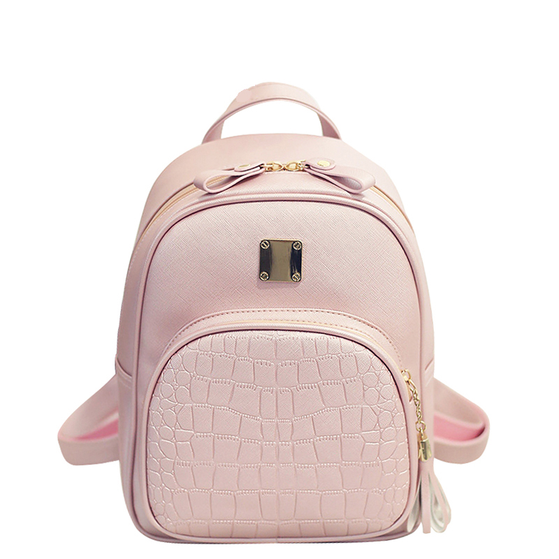 Fashion PU Geniune Leather Shoulder Bag Women Backpacks Crocodile Pattern Small Backpack Embossed School Bags For Girls women backpacks fashion pu leather shoulder bag small backpack women embroidery dragonfly floral school bags for girls