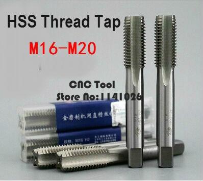 New 1PCS M16/M16*1/M16*1.5/M18/M18*1.5/M20/M20*1.5 High Speed Steel HSS Straight Groove Machine Screw Thread Metric Plug Tap