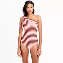40d4642623 OULING Long torso one shoulder swimsuit one-piece swimwear in classic  stripe women