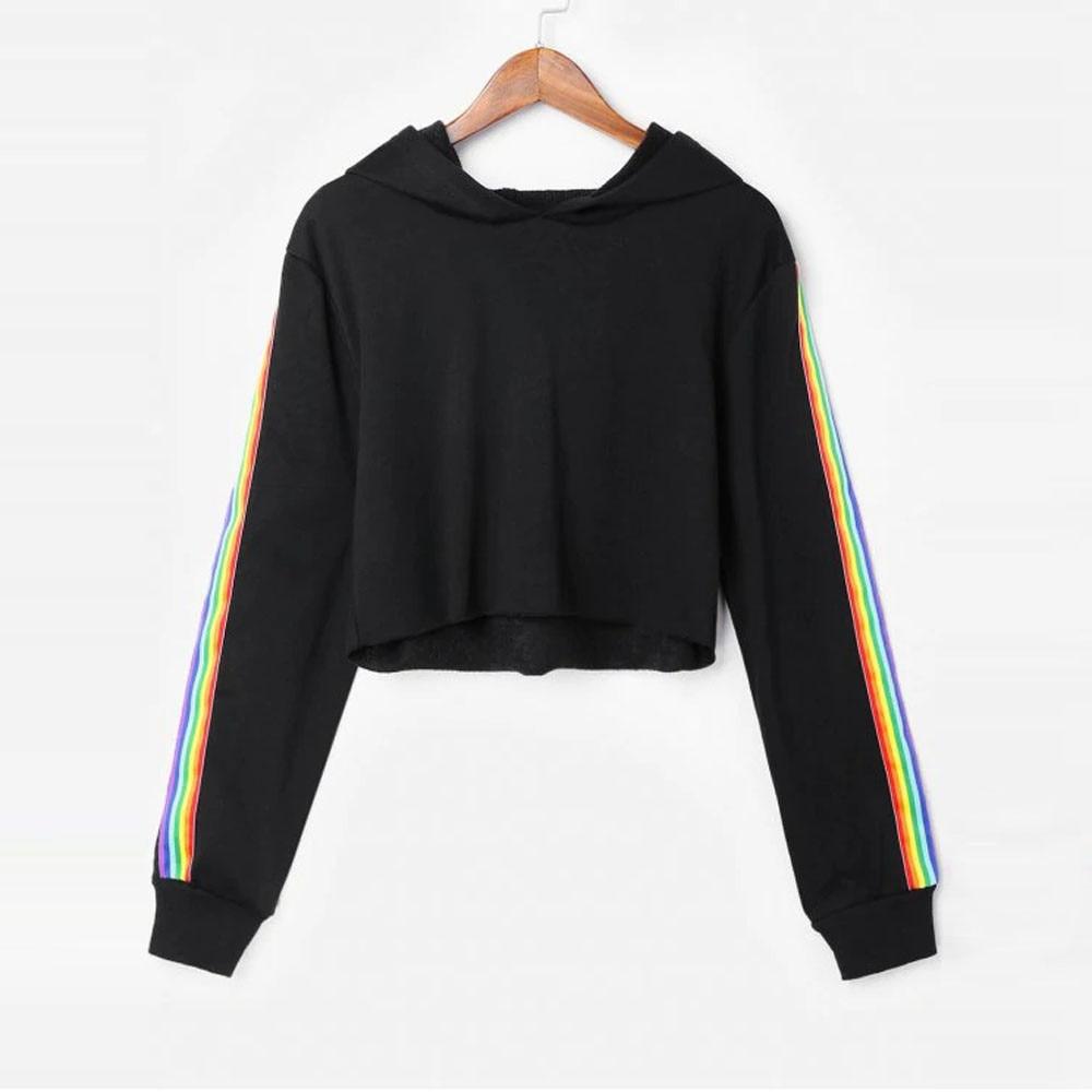 Sweatshirts Female Hoodie Rainbow Striped Crop Sweatshirt Hoodies Women Long Sleeves Hoody For Women Autumn Winter Pullover Tops sweatshirt