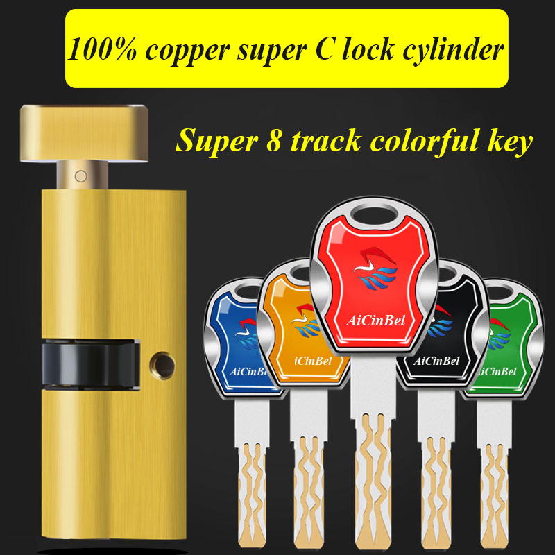 Security door bedroom door cylinder 65 70mm Security Copper Lock Cylinder Interior Bedroom Living Handle Brass 5pcs Key Locking 35 55mm door thickness door handle brass lock with 70mm key lock page 10