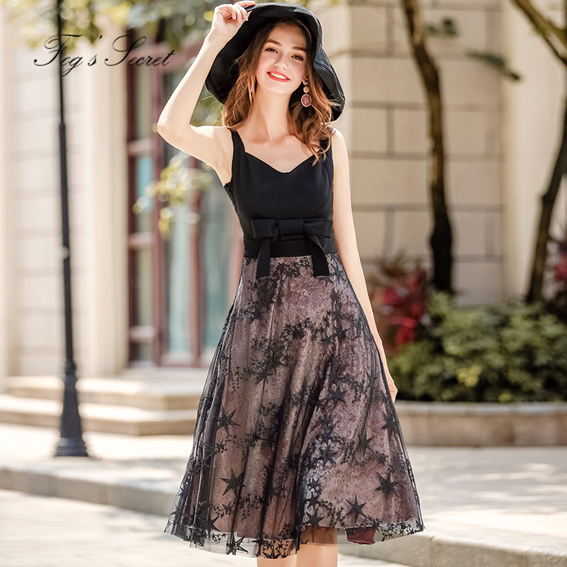 Brand Black Y Dress For Women Dresses Elegant Sweet Office Lady Mesh Night Club 2018 Summer Autumn In From S Clothing